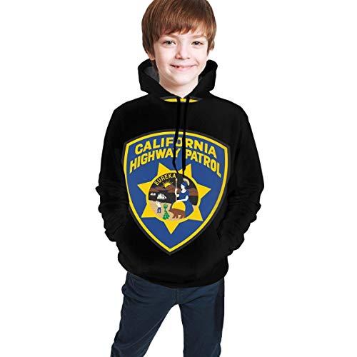 Sudadera con Capucha Juvenil para niños Sudadera con Capucha para niños y niñas Tops de Manga Larga California Highway Patrol Eureka Badge L