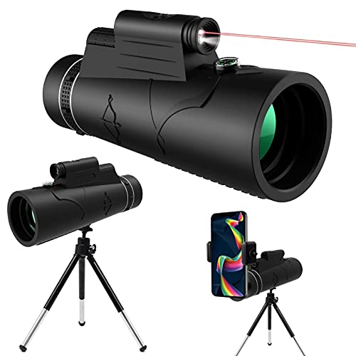 Telescopio Monocular HD De 12x50 Visión Nocturna, Luz de Antorcha Roja, KNMY Impermeable con Soporte para Teléfono, Trípode, Brújula para Teléfono Móvil, Observación de Aves, Acampada, Caza