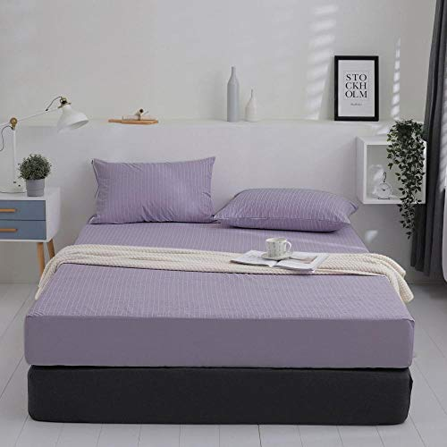 GTWOZNB Protector de colchón de bambú Funda de colchón y Ajustable Colcha Impermeable y Transpirable para Aislamiento de orina-Rayas moradas_100 * 200cm