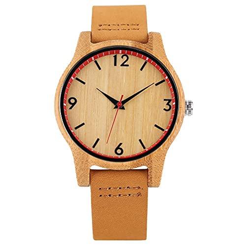 HYLX Cómodo Reloj de bambú Hecho a Mano para Mujer, Elegantes Relojes de Madera de Cuarzo para Dama, Correa de Cuero Informal con Reloj de Pulsera con Hebilla para Dama
