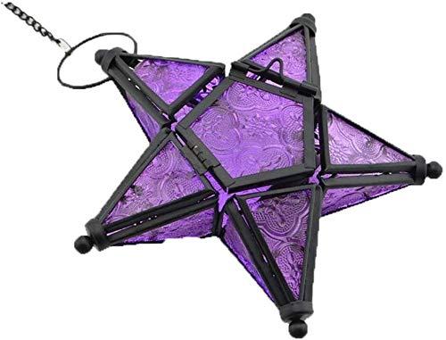 mxjxj Aturde Estrella de Cristal votiva luz del té Vela Titular Iluminación Colgantes Fiesta de cumpleaños de la Boda de la Linterna de la decoración del jardín Principal, Orange (Color : Purple)