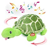 Hopearl Musical Plush Turtle Singing Dancing Crawling Chasing Interactive Animated Bump and Go Toy Christmas Winter Gift for Toddlers, 11''