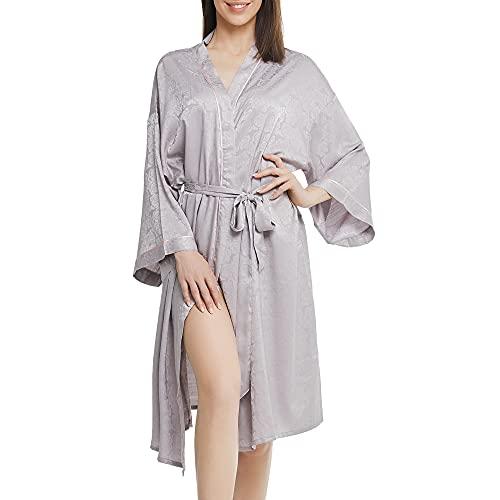 Winthome 女性用バスローブ 浴衣式 前開き サテン生地 シルクのような肌触り 花柄 無地 ロング (グレー, サテンジャカード生地)