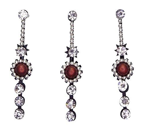 Long Crystal Bindis Multipack/Festival Face Gems/Bollywood Costume Bindi stickers/Rhinestone Makeup Jewels/Silver Diamante Body Art Jewellery/Indian Tikka Forehead Glitter Tattoo D12