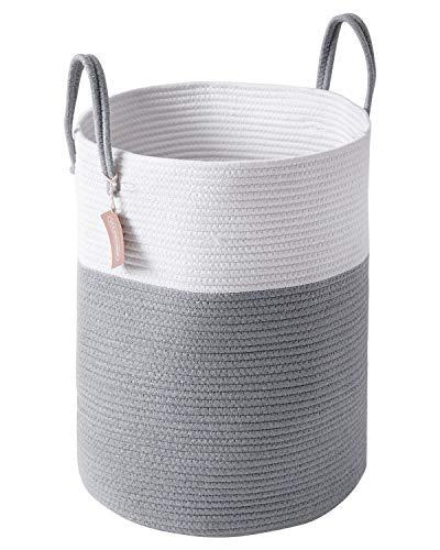 YOUDENOVA Wäschekorb Geflochten Wäschesammler Laundry Hamper baskets Aufbewahrungskorb mit Griff Handarbeit Grau...