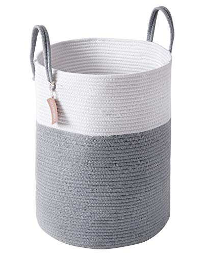 YOUDENOVA Woven Laundry Hamper - Cotton Rope Laundry Baskets - Tall Storage Basket for Bedroom, Livingroom, Toys, Pillows, Blanket and clothes - 15x20 inches 58L - Grey