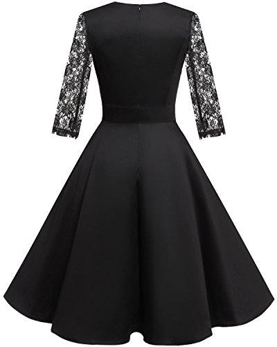 HomRain Damen 50er Vintage Retro Kleid Party Langarm Rockabilly Cocktail Abendkleider Black-1 XS - 2
