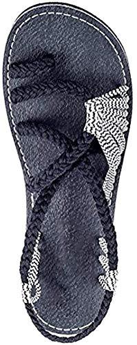 ORANDESIGNE Sandales Femme Tressée Sandales Femmes Chaussures de Plage Plats Bohême Clip Toe Herringbone Flip Flops (40 EU, Noir Blanc)
