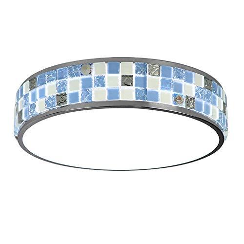 Plafoniera LED Rotonda Mosaico Di Cristallo Blu Tre Colori Dimmerazione 3000-6000K Pannello Acrilico Soggiorno Moderno , Φ30CM×H11CM 12W