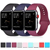 Pack 3 Compatible with Apple Watch Band 38mm for Men, Soft Silicone Band...