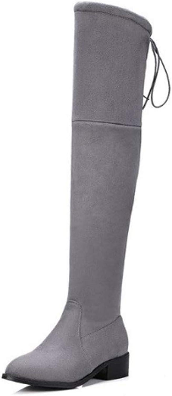 FMWLST Stiefel Quadratischer Damen-Stretch-Stoff Mit Niedrigem Absatz über Den Kniestiefeln Winter Damen Motorradstiefel