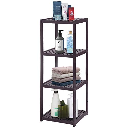 shamoluotuo 4-Tier Corner Shelf Light Duty Storage Shelf, Bamboo Bathroom Shelf Stand Living Room Display Stand Washroom Organizer Shelf Towel Tower Plant Stand for Kitchen Home (Brown)