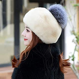 New Korean Version of The Ladies Soft Beret Otter Hair Crepe Female Hat Fox Fur Ball Gray