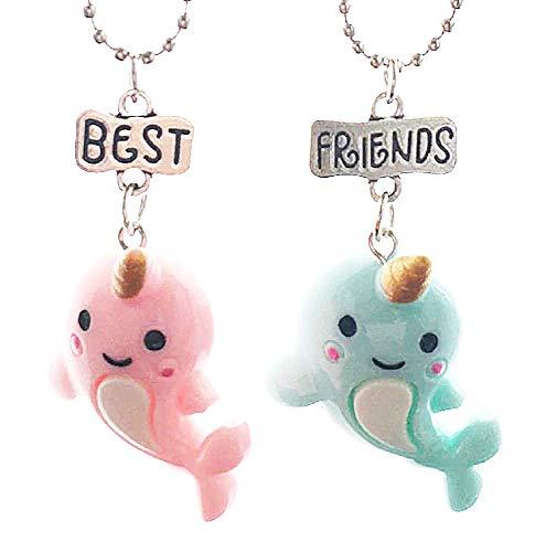 Twee meisjes kettingen - vriendschap - kawaii x 2 - beste vrienden voor 2 - paar - bff - eenhoorn - dolfijnen - vis - kerstmis - roze en blauw - origineel cadeau idee best friends