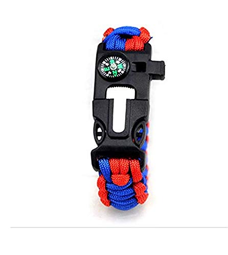 reminis 5 In 1 Life-Saving Kit Outdoor Camping Flint And Compass Multi-Function Bracelet (Red and Blue)