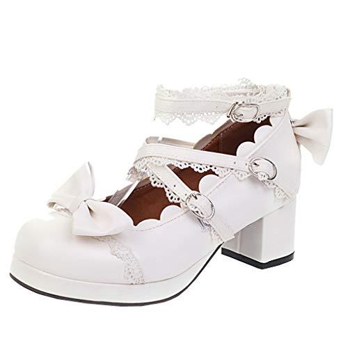 Cosplay Lolita Schuhe Schleife Chunky Heels Pumps mit Blockabsatz und Riemchen Rockabilly Schuhe (Weiß,39)