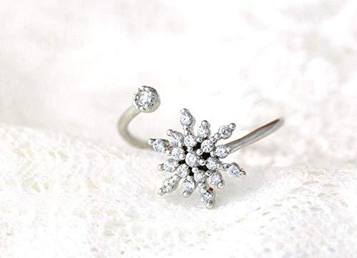 Anillo abierto Gflyme para mujer, elegante anillo de circonita con copo de nieve, ajustable, unisex, joyería de plata, regalos para bodas, graduación, cumpleaños, promesa de cumpleaños