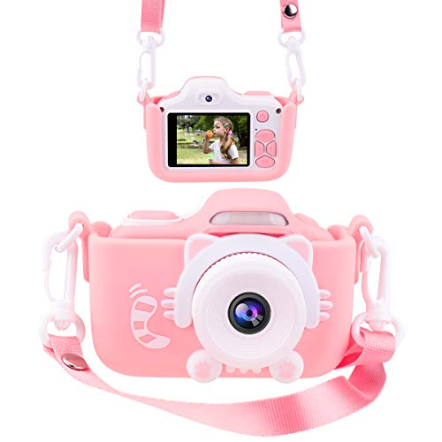 Kids Camera for Girls Gifts JOYTRIP HD 2.0 Inches Screen Kids Digital Cameras Anti-Drop Children Selfie Toy Camera Mini Child Camcorder for Age 3-14 with Soft Silicone Material (Pink)