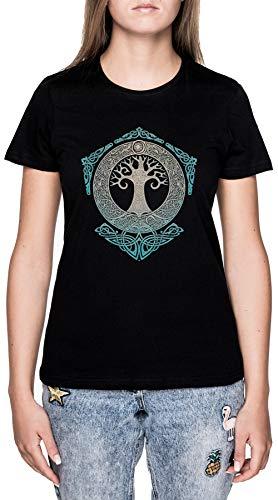 Yggdrasiltree Von Leben Schwarz T-Shirt Damen Kurzarm Black T-Shirt Women's