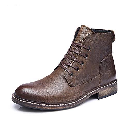 XER Heren Cowboy Laarzen, Half-Hoogte Up Mid Kalf Laarzen voor Mannen, Unieke puntige teen Ontwerp Metalen teen Cowboy Leder,EUR42