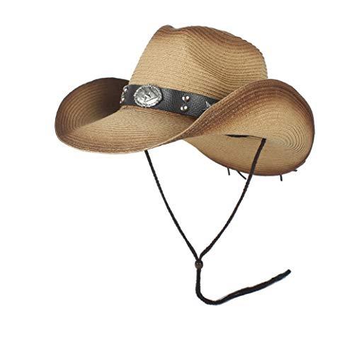 XinQuan Wang New Fashion Western Cowboy hats mannen Summer Straw Cowgirl Kostuum van de Partij Crimping Westerse Hat Sombrero Hombre Cowboy Hoeden for mannen (Color : Khaki, Size : 56-58)