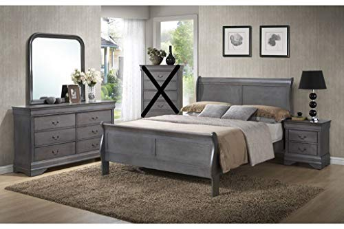 Buy Bargain GTU Furniture Classic Louis Philippe Styling Grey Louis Philippe Twin/Full/Queen/King Be...