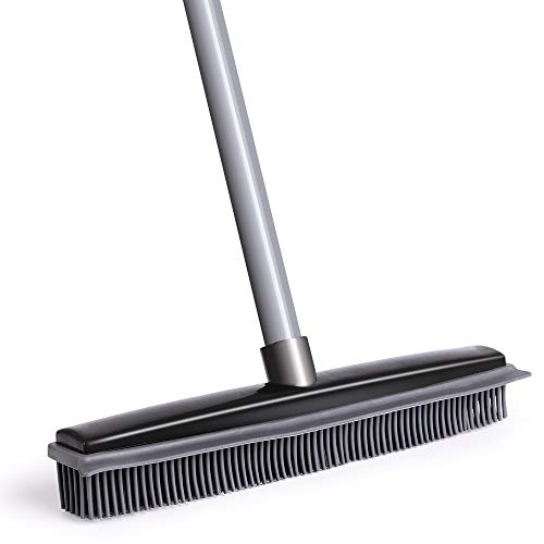 Push Broom, Soft Bristle Rubber Sweeper Squeegee Edge with 59 inches Adjustable Long Handle, Rubber Broom for Hair Pet Dog Hardwood Floor Carpet