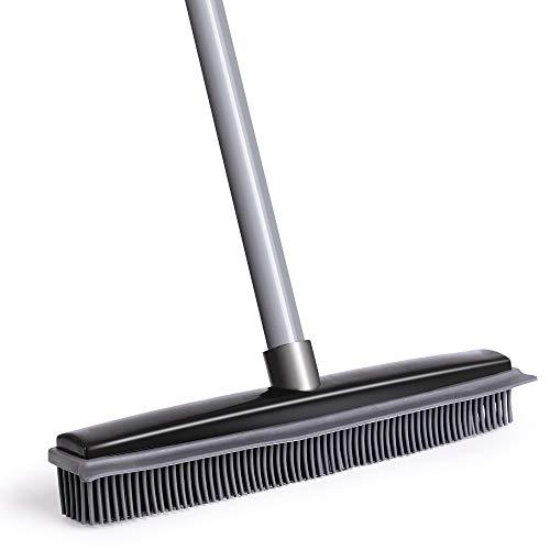 NZQXJXZ Push Broom, Soft Bristle Rubber Broom Sweeper Squeegee Edge with 59 inches Adjustable Long Handle, Non Scratch Bristle Broom for Pet Dog Cat Hair Carpet Hardwood Floor Tile (Black)