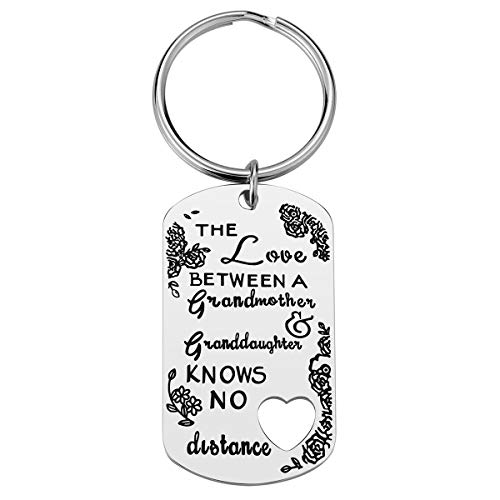 Grandma Gifts from Granddaughter - The Love Between A Grandmother & Granddaughter Knows No Distance Grandmother Granddaughter Keychain, Perfect Gifts for Grandma Grandmother