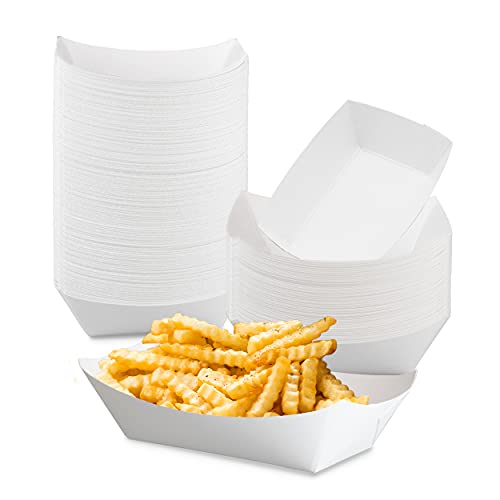 1 lb White Paper Food Tray - Grease Resistant Serving Boat for Fairs, Picnics and Parties
