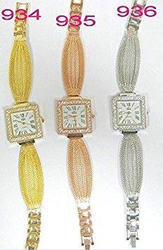 Orologio analogico al quarzo da donna, elegante e alla moda, con cinturino in acciaio inox e corpo ornato di strass, Rose Gold, square dial