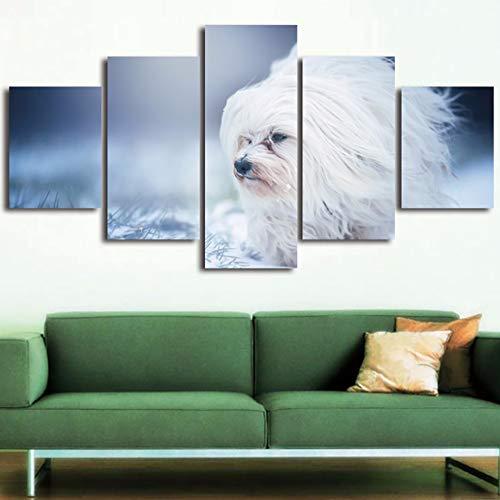 CUISAI Modular Imagen Lona Mural Habitación 5 Piezas Perro animal lindo moderno 150X80cm(Sin marco)cuadro sobre lienzo pared la moda abstracta decoración moderna del hogar Lienzo en módulos impresi
