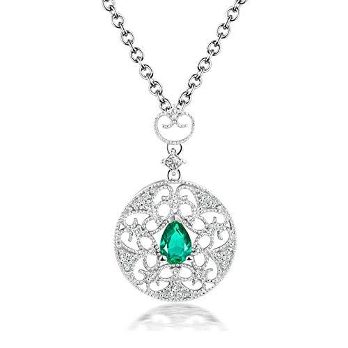 Beydodo Kette 750 Weißgold Echtschmuck Anhänger Blume mit 0.39ct Tropfen Smaragd, Halskette Damen Diamant Echt 45CM