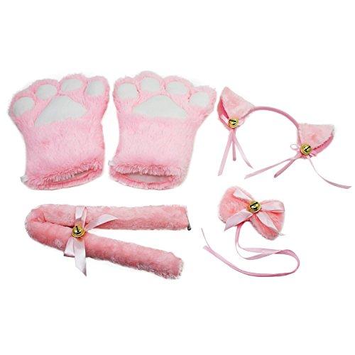 KEESIN Katze Cosplay Set Plüsch Klaue Handschuhe Katze Kätzchen Ohren Schwanz Kragen Pfoten Cute Adorable Party Kostüm Set für Kinder und Erwachsene (Rosa)