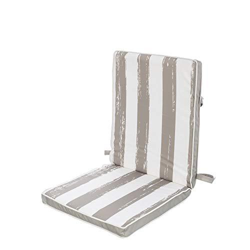 Cojín de Silla Gris de poliéster Impermeable Moderno para jardín de 40 x 90 Garden - LOLAhome