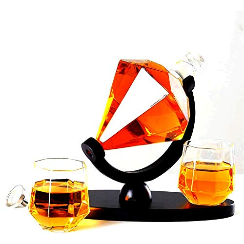 XBR Creativo Whisky Decanter Globo Set, Bicchieri Diamond Whisky Decanter con 2 Bicchieri Diamante e Base Creativa Trasparente