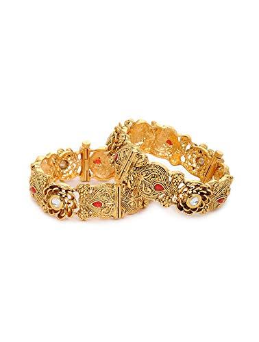 Indische Kundan-Armreifen, Kada-Set, traditionelles dickes Armband, Kada-Armreif, indisches Schmuck-Set