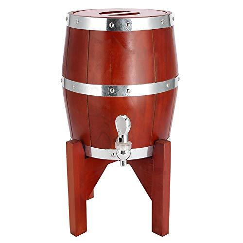 Botte di vino, fodera in acciaio inossidabile Bar di casa in legno di quercia Barile di vino Contenitore per barile di birra Birra Whisky per casa, caffetteria(Marrone 3L)