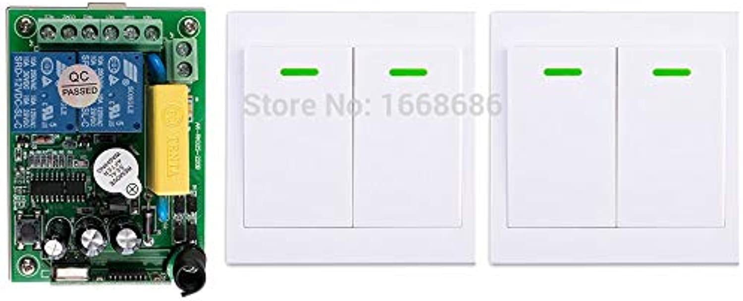 New AC220V 2CH Wireless Remote Control Switch System Receiver + 2Wall Panel Remote Transmitter Sticky Remote Smart Home Switch