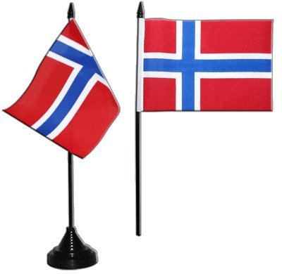 Tischflagge / Tischfahne Norwegen + gratis Aufkleber, Flaggenfritze®