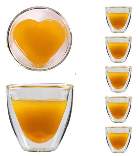 Feelino 6X 80ml doppelwandiges Herzform Espresso- und Schapsglas, edle Thermogläser mit Schwebeeffekt, Celissimo
