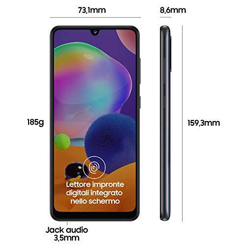 "Samsung Galaxy A31, Smartphone, Display 6.4"" Full HD+ Super AMOLED, 4 Fotocamere Posteriori, 64 GB Espandibili, RAM 4 GB, Batteria 5000 mAh, 4G, Dual Sim, Android 10, 185 g, [Versione Italiana], Nero"