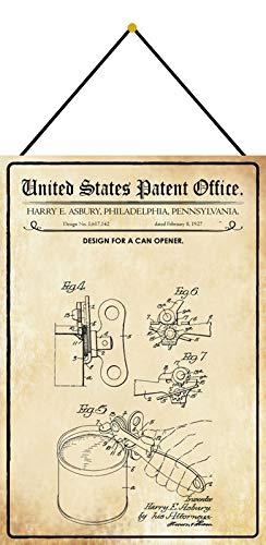 Blechschild 20x30cm gewölbt mit Kordel Patent Entwurf für einen Dosenöffner 1927 Deko Geschenk Schild