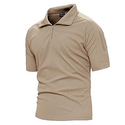 TACVASEN Mens Quick Drying Breathable Camping Hiking Short Sleeve Top Tee Shirt Khaki,US L