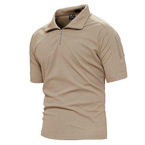 TACVASEN Mens Quick Drying Breathable Camping Hiking Short Sleeve Top Tee Shirt Khaki, L