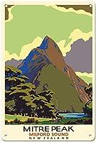 マイターピークミルフォードサウンドニュージーランドティンサイン装飾ヴィンテージウォールメタルプラークレトロ鉄絵画カフェバー映画ギフト結婚式誕生日警告