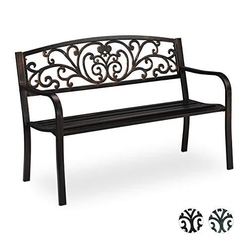 Relaxdays Gartenbank Antik für 2 Personen, Balkon, Terrasse, Premium Rostschutz, Metallbank 81x127x56 cm, Bronze, Schwarz/Gold