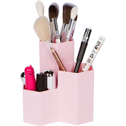 Groovi Beauty - Pink Makeup Brush and Pencil Holder - 3 Round Cups to Hold Makeup Brushes, Lipsticks, Eye and Lip Pencils