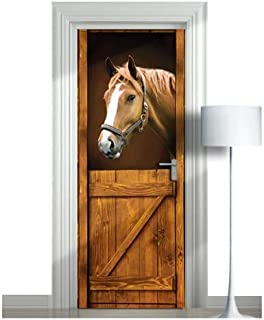 WonderlandWalls Premium Sticker for Door/Wall/Fridge - Horse in stall. ONE Piece Sticky Mural, Decal, Cover. All Door Sizes! (Horse 1, 30