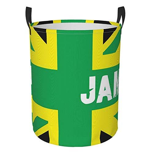 Foldable Laundry Hamper Gentleman Jamaican Kingdom Flag Dirty Clothes Round Laundry Basket Waterproof Toys Clothes Storage Organizer Washing Bin Durable Handbag For Bathroom Bedroom